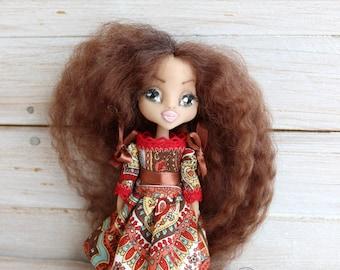 Art clay doll, doll with dark skin, OOAK Art Doll, clay doll, Polymer clay doll, Collecting doll, sculpted clay doll, miniature doll