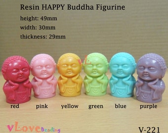 Resin HAPPY buddha figurine x 1 piece, 30 x 49mm (V-210)