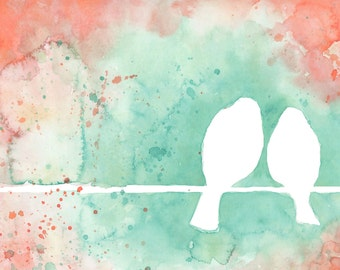 Birds on a Wire, Coral and Mint Watercolor Print, by Katrina Pete, nursery art. Mint ombre, lovebirds,