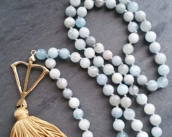Courage & Protection Natural Aquamarine 108 Mala Prayer Bead Necklace  / Eco-Friendly Jewelry