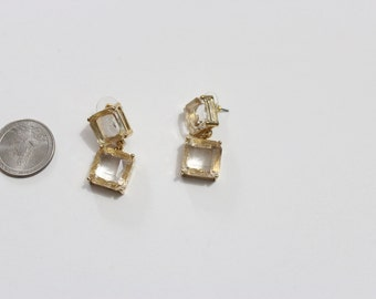 Glass Crystal Cube Earrings