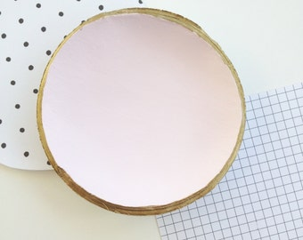 Pink Clay Ring Bowl // gold rim