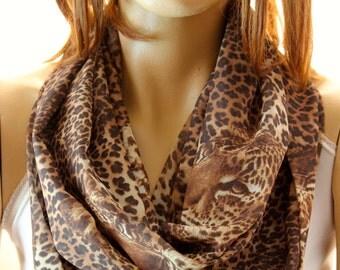 Leopard print Infinity scarf. Loop scarf. Women Scarf. Scarves. Accessories, fashion scarves, fashion accessories, animal printed scarves