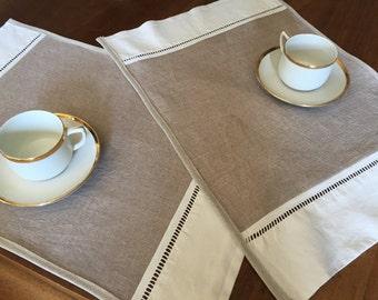2 place mat, linen et cotton , drap ancien français, jour échelle