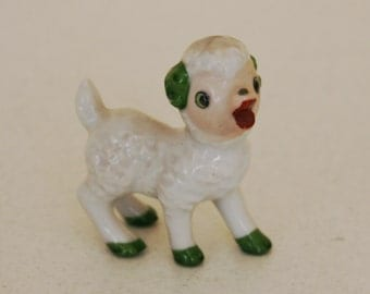Sweet sheep figurine-green hooves-green horns-made in Japan