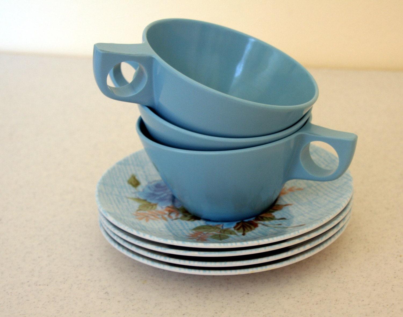 Luscious Aqua Melamine Cups And Saucers Retro Turquoise Blue