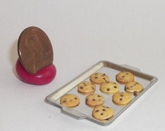 Miniature Dollhouse (12) Baked Chocolate Chip COOKIES on cookie sheet 1/12 #7238