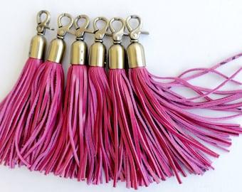 Leather tassel , Leather tassel keychain