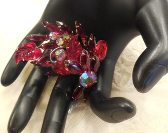 Vintage Red AB, Red Rhinestones with Red Molded Glass Brooch