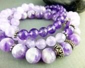 Amethyst Bracelet Medley, Natural Amethyst Chakra Bracelets, Beaded Bracelet Stack, Healing Crystals Chakra Bracelets, Stretch Bracelets