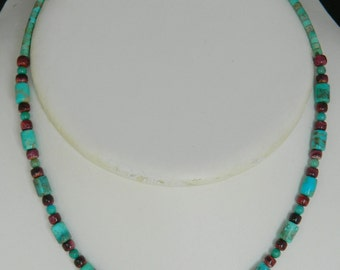 Native American Navajo Turquoise Purple Spiny Oyster Sterling Necklace Helen Tsosie 17 7/8""