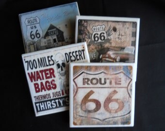 Route 66 Coasters ~ Vintage Route 66 ~ Vintage Coasters ~ Ceramic Tile Coasters ~ Drink Coasters ~ Home Decor ~ Table Coasters ~ Old Signs