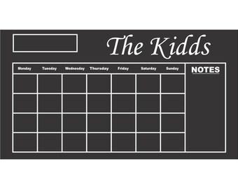 Custom Chalkboard Vinyl Calendar