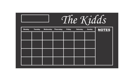 Custom Chalkboard Vinyl Calendar by DecalsForAll