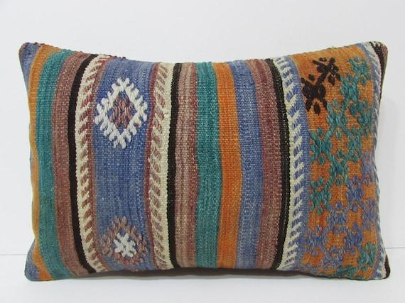 Blue Kilim Pillow 16x24 Lumbar Kilim Pillow By