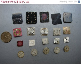 Set of 20 -- Featured - Watch Parts - Steampunk supplies - Watch dials - Watch faces - Steampunk supply metal art collage F47b