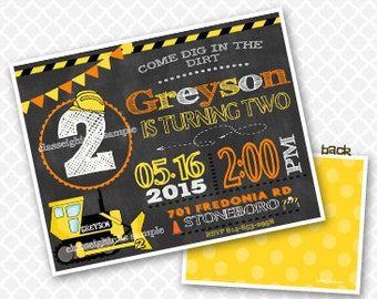 Under Construction Chalkboard Birthday Invitation Construction Birthday Party Invite