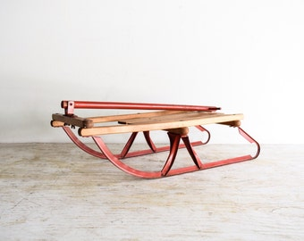 wooden sled, snow sled, runner sled, small classic wood sled with metal frame, long handle and backrest, winter sled decor, vintage