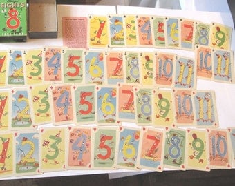 Old Vintage cute miniature crazy eights anthro children's card game Whitman w box & instructions great for play or crafts scrapbooking