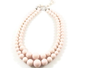 Two Strand Light Pink Graduated Bead Necklace - Japan