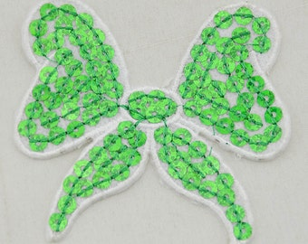 GREEN & WHITE Sequin Bow Patch, Applique, Embellishement (Small or Large)