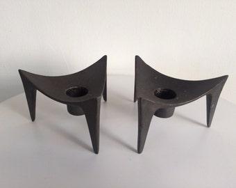 Dansk Triangular Iron Candle Holder Pair By Jens Quistgaard