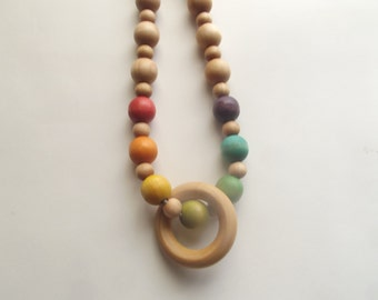 Nursing Necklace Rainbow Wooden Teething Beads Crochet Hemp