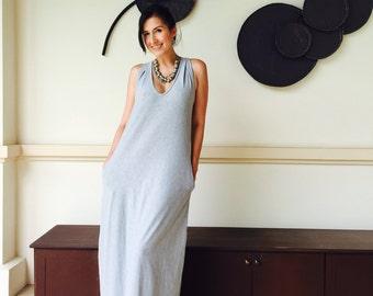 Gray sleeveless long maxi dress - all size