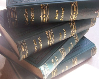 LORD LYTTON EDITION 1884-1888 4 Volumes Last Days of Pompeii, The Last of the Barons, etc...Decorative Hardcovers!