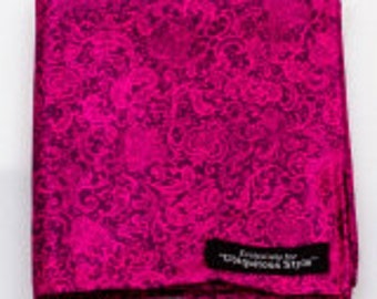 Pink and Navy Blue Paisley Silk Pocket Square