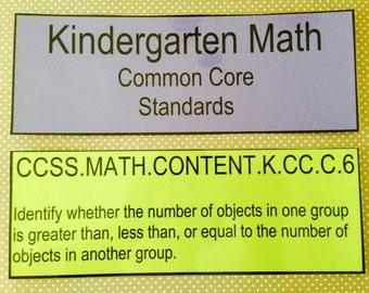 Kindergarten Common Core Math Standards teacher made