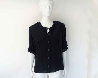 The Under Cover Vintage 90s Silk Blouse Boxy Black Button Down Epaulettes Oversized Slouchy Silk Blouse O/S Womens Tops
