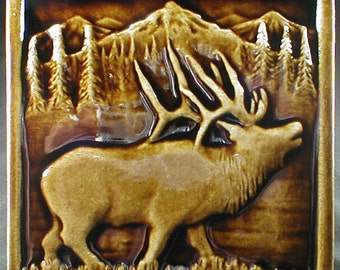 Art tile, elk tile, 6 x 6, decorative tile, ceramic sculpture, accent tile, wall tile, fireplace tile, kitchen tile, backsplash tile