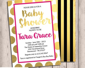 Gold Foil Baby Shower Invitation, Watercolor writing, Pink&Gold, Baby Shower Invite, Double-Sided, 5x7, Printable