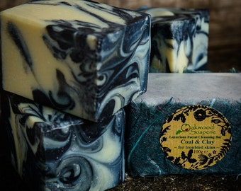 Facial Cleansing Bar, Handmade Natural Soap with charcoal and tea tree essential oils for combination / oily skin.