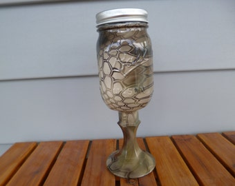 Mason jar redneck wine glass in Kryptek Highlander hydrographics