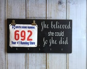 Race Bib Display Board - Hand Painted-