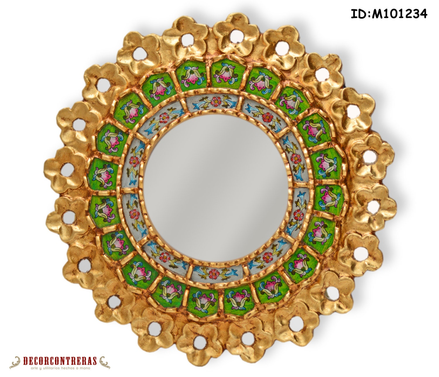 handmade green round wall mirror handpainted glass small decorative round mirror gold framed mirror home decor peruvian mirrors