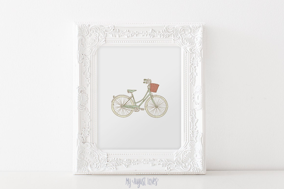Vintage Wall Decor For Nursery : Vintage bicycle wall art nursery decor by