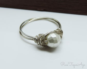 SALE Sterling Silver and Faceted Mother of Pearl MOP Wire Wrapped Ring Size 7 - Last One Ready to Ship