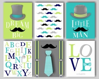 Little Man Nursery Bedding Decor Mustache Nursery Bedding Decor Baby Boy Nursery Art Mustache Wall Art Choose Colors LM1208