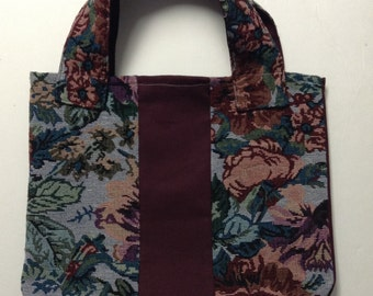 Maroon Canvas and Floral Tapestry Tote Bag