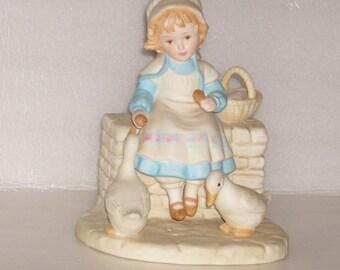 French Country Girl Feeding Geese 1985 Fraser Ceramic Figurine
