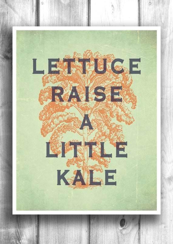 Kitchen art kale print inspirational poster by happylettershop for Decor market reviews