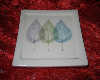 50% Off Mid Century Raised Ceramic Trivet 3 Leaves