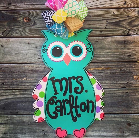 Owl Door Hanger Owl Decor Teacher Door By Jgcreationsbyjg