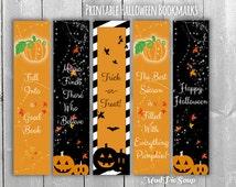 Printable Halloween Bookmark Party Favors - Fall Pumpkins