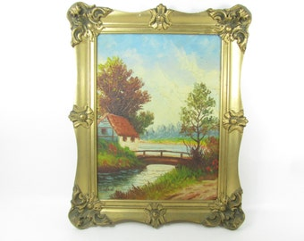 Original painting,OOAK painting,art,wall decor,oil painting,antique gold frame,picture frame,Victorian painting, landscape