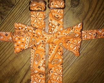 Country Orange Bandana print/University of Tennessee/Bow tie and Suspenders/Perfect for weddings and ring bearers