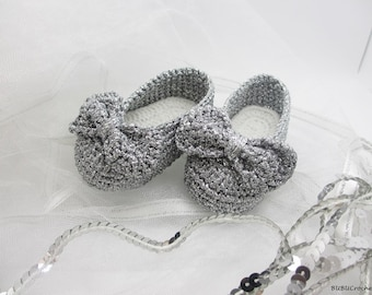 Silver Baby Shoes, Crochet Baby Shoes,Baby Girl Shoes, Crochet Baby Booties,  Baby Girl Booties, Baby Shower Gift